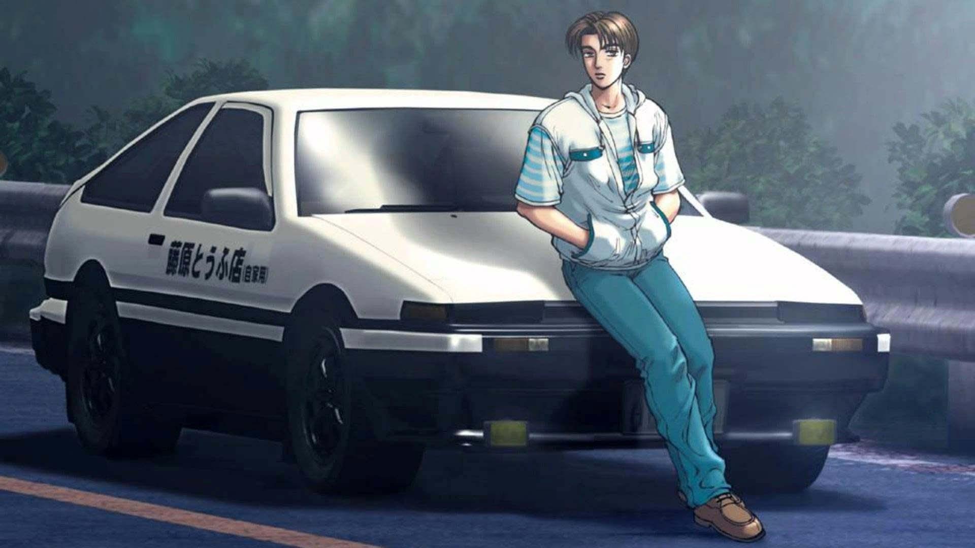 Initial D Takumi Fujiwara leaning on car